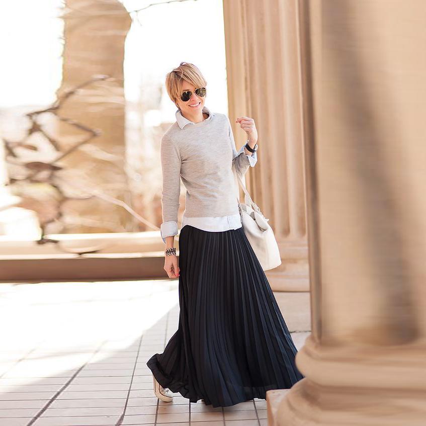 online kaufen gro handel black pleated chiffon skirt long. Black Bedroom Furniture Sets. Home Design Ideas