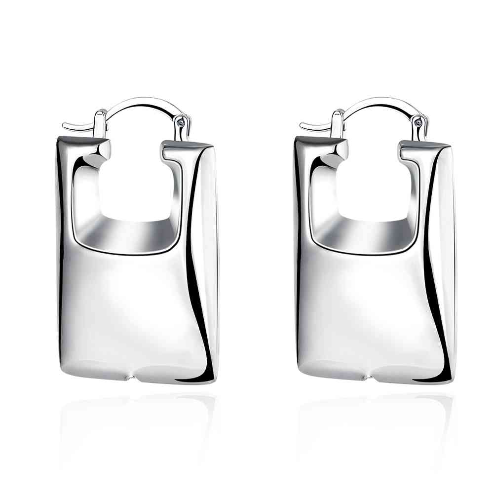 Free Shipping Best Gift silver earrings rectangle clip orecchini oso SMTE709(China (Mainland))