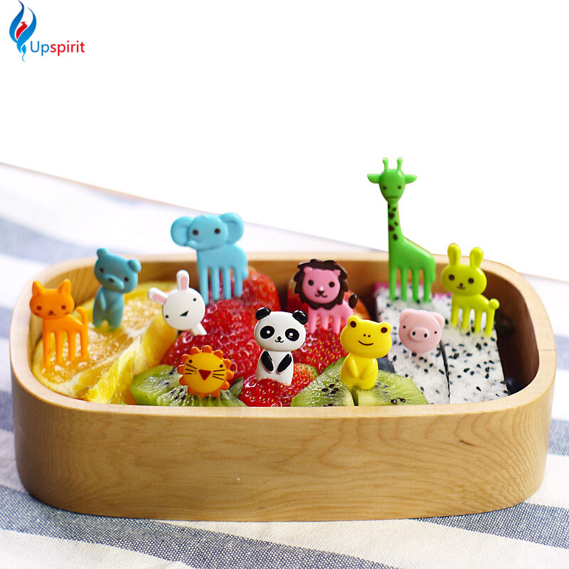 New 10pcs/pack Animal Farm Mini Cartoon Fruit Fork Sign ...