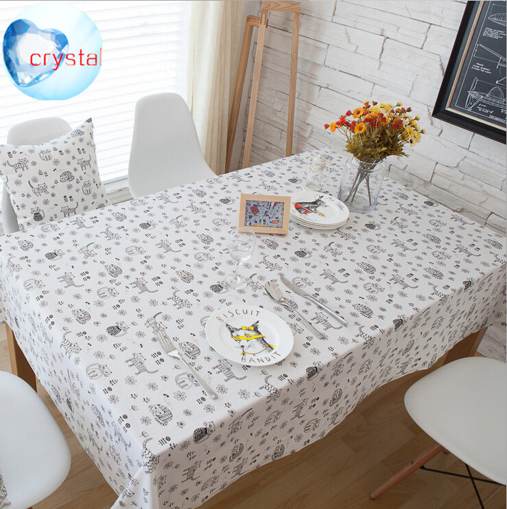 NEW Cartoon Stick figure cat Printing Liene Cotton Household Multifunctional table cloth RUNNER and cushion cover T117(China (Mainland))