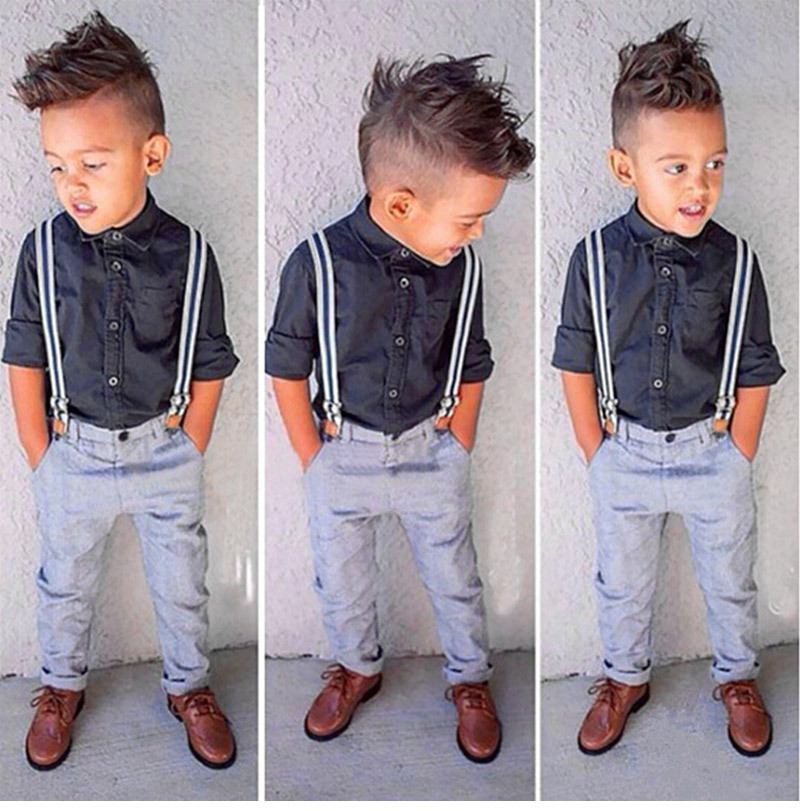 Kids baby boy clothes 2015 new summer style children set  T-shirt + overalls sport suit children clothing manufacturers china(China (Mainland))
