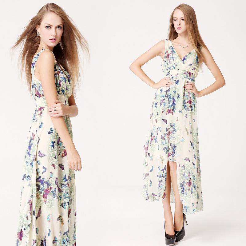 New 2015 Fashion Summer Dress Chiffon Silk Split Fish Length Deep ...