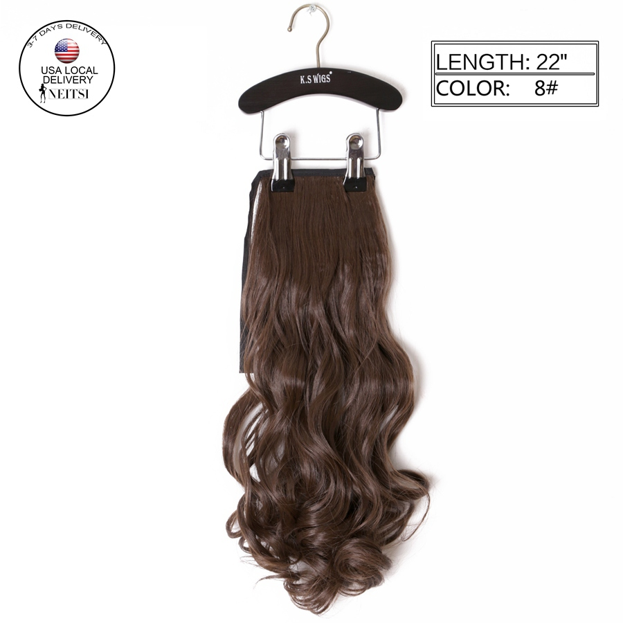 """Neitsi 1PC 22"""" Synthetic Curly Hair Ponytails Hairpieces Wavy Clip In On Pony Tail Hair Extensions 8# Light Ash Brown Color Hair(China (Mainland))"""