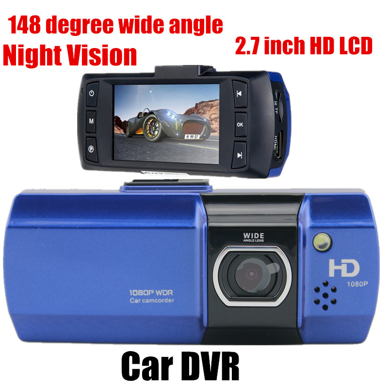 Full HD Car DVR Video Recoder Camera G-Sensor 2.7 inch LCD Night vision Free shipping 148 degree wide angle(China (Mainland))