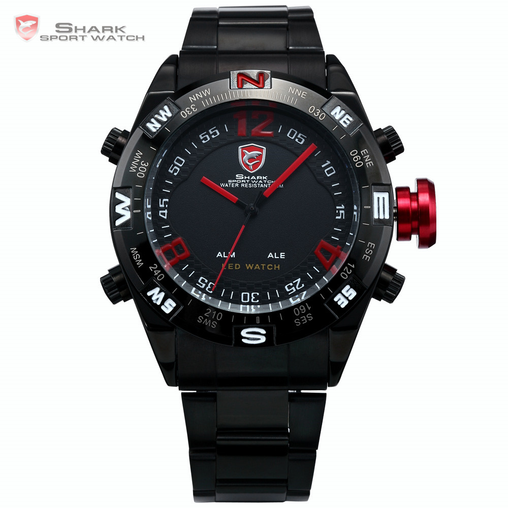 Гаджет  SHARK Black Stainless Steel Metal Strap Digital LED Date Alarm Red Montre Sport Analog Quartz Wrist Men