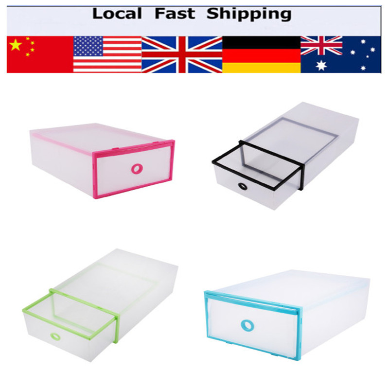 5Pcs Double Storage Box Shoes Organizer Case Drawers Plastic Shoes Storage Shoe Box(Hong Kong)