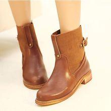 Free Shipping Fashion Women's Shoes Round Toe  Genuine Leather  Boots Large Size US 4-19(China (Mainland))