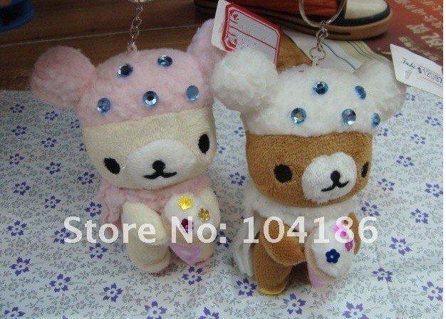 6PCS Kawaii Delicate SAN-X Diamond Stud Ice Cream Rilakkuma Bear DOLL ; Plush Stuffed TOY , Soft Figure , Key Chain TOY(China (Mainland))