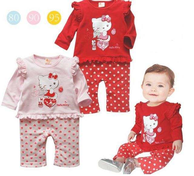 2015 autumn new baby clothing baby girl rompers cartoon cotton hello kitty newborn Infants long sleeve one-piece jumpsuits(China (Mainland))