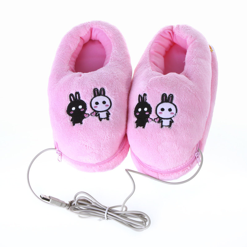 2016 New Safe and Reliable Plush USB Foot Warmer Shoes Soft Electric Heating Slipper Cute Rabbits Pink USB Gadgets(China (Mainland))