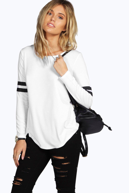 White black o neck casual full length t shirt grey womens for Full hand t shirts for womens