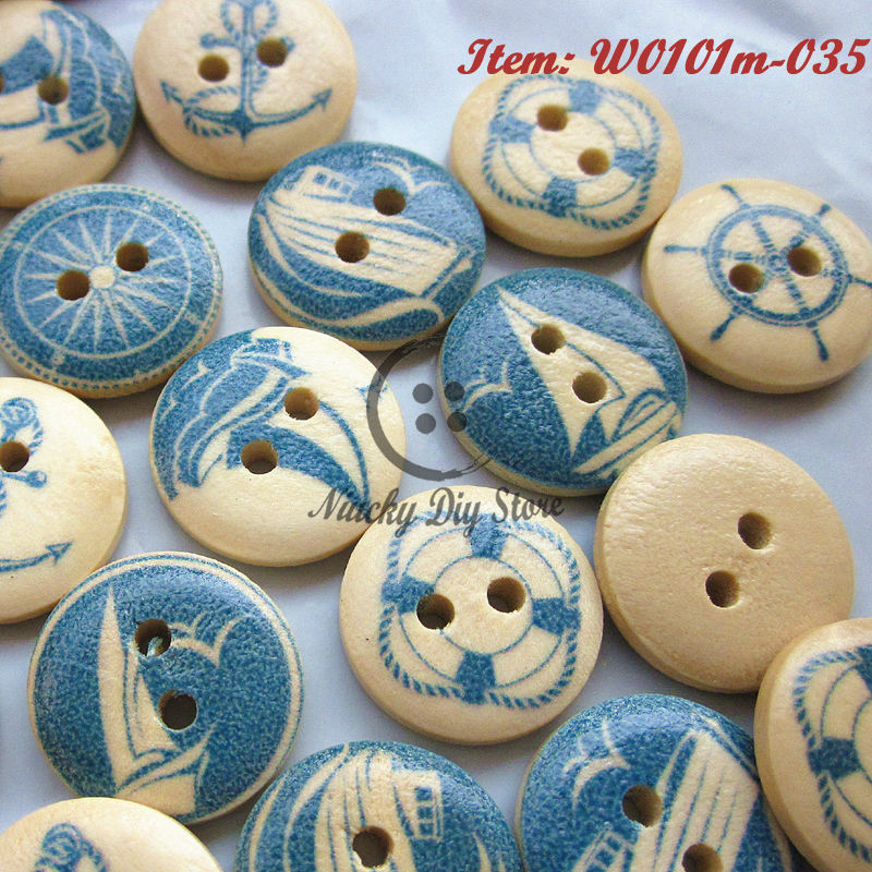 100pcs anchor ocean series wood decorative buttons for for Decorative pins for crafts