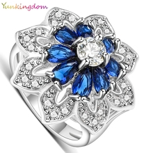 Buy Yunkingdom Exaggerated ring white gold color wedding rings women dark blue zirconia jewelry ALP0795 for $3.24 in AliExpress store