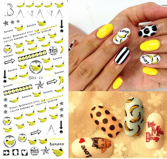 DIY Golden New 2016 Nail Art Tips Decoration Sticker for Nail Fingernails Wraps Glitter Banana Cute Water Transfer Stickers(China (Mainland))