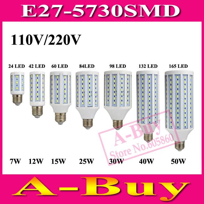 1Pcs E27 B22 E14 5730 SMD LED Corn Bulb AC 220V AC 110V 7W 12W 15W 25W 30W 40W 50W High Luminous Spotlight LED Lamp Light(China (Mainland))