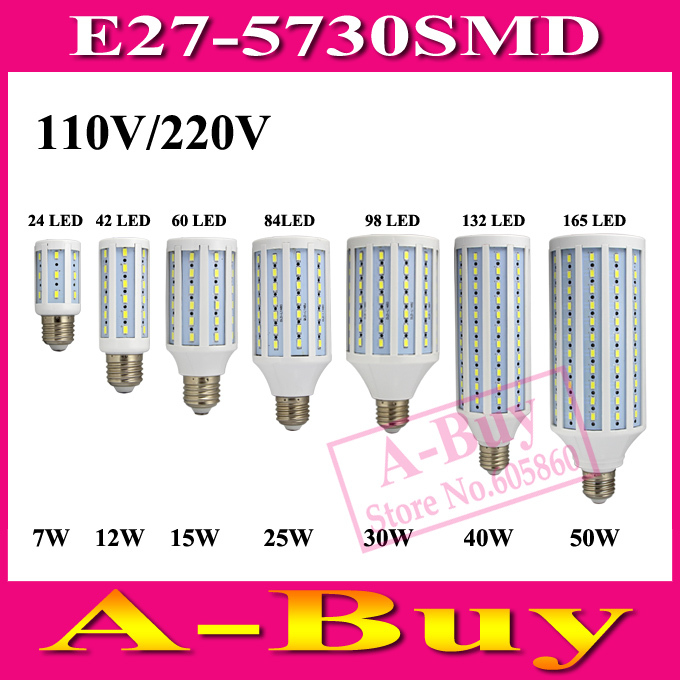 1Pcs E27 B22 E14 5730 SMD LED Corn Bulb AC 220V AC 110V 7W 12W 15W 25W 30W 40W 50W High Luminous Spotlight LED Lamp Light(China (Mainland))