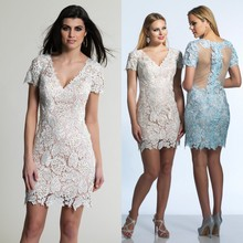 Champagene Blue Lace Cocktail Dresses 2016 V Neck With Short Sleeves Plus Size See-through Mini Short Custom Made Party Dresses