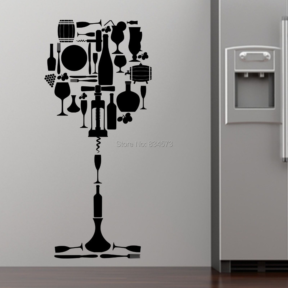 Kitchen Wall Groupings: Wine Glass Selection Drink Kitchen Wall Art Sticker Decal