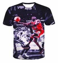 Merek pasang pria lengan pendek t-shirt, 2016 baru kedatangan pencetakan Michael basket 3D pakaian favorit, Plus ukuran