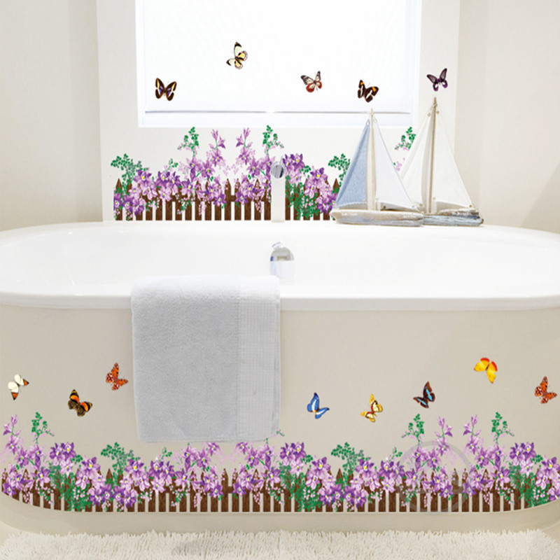 Railing fence flowers grass butterfly wall sticker for for Bathroom tile stickers