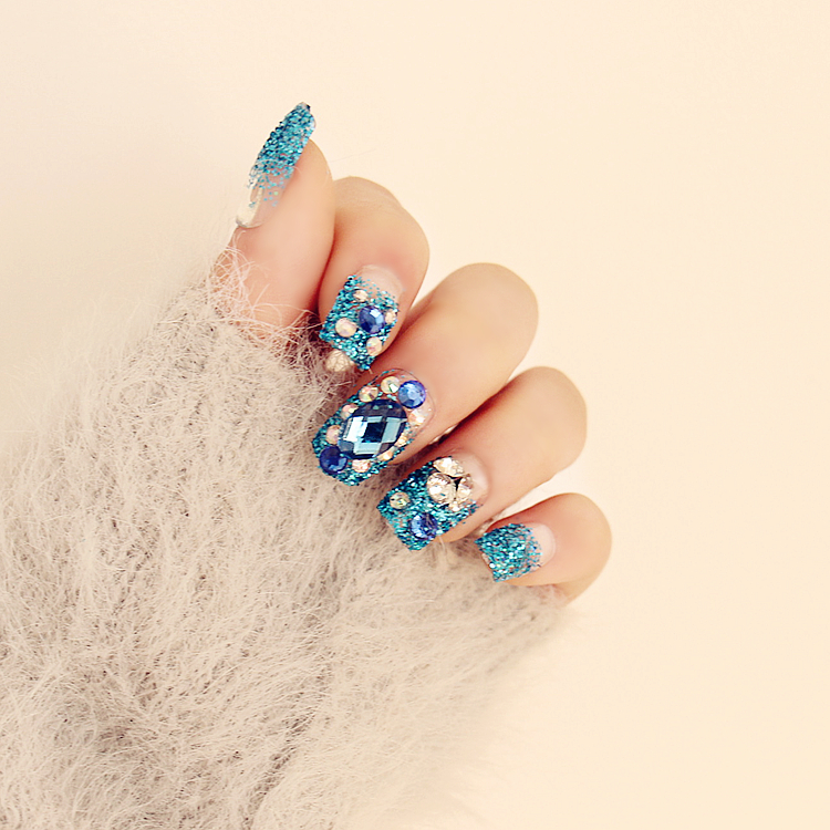 New 24 pieces (Pre-glue) Blue Rhinestone Bling Decoration Manicure 3D Long Fake false Sticker Faux Nails Tips With Glue [N552](China (Mainland))