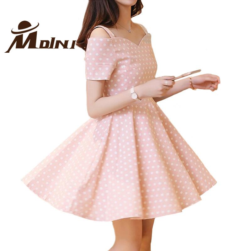Women Summer Dress Fashion Dot Printed Sweet Pink Vestidos Casual Robe Clothing Short Office Sundress Dollar Price Clothes(China (Mainland))