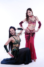 2014 New High Quality Handmade Egyptian Belly Dance Costumes 5 pieces/set Bra & Skirt & Sleeves & Necklace S/M/L Sizes
