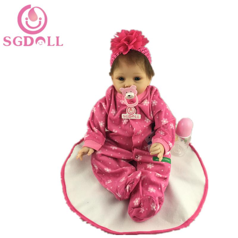 [SGDOLL]2017 New Arrival Reborn Toddler Dolls 22'' Handmade Lifelike Baby Solid Silicone Vinyl Boy Doll 17030131(China (Mainland))