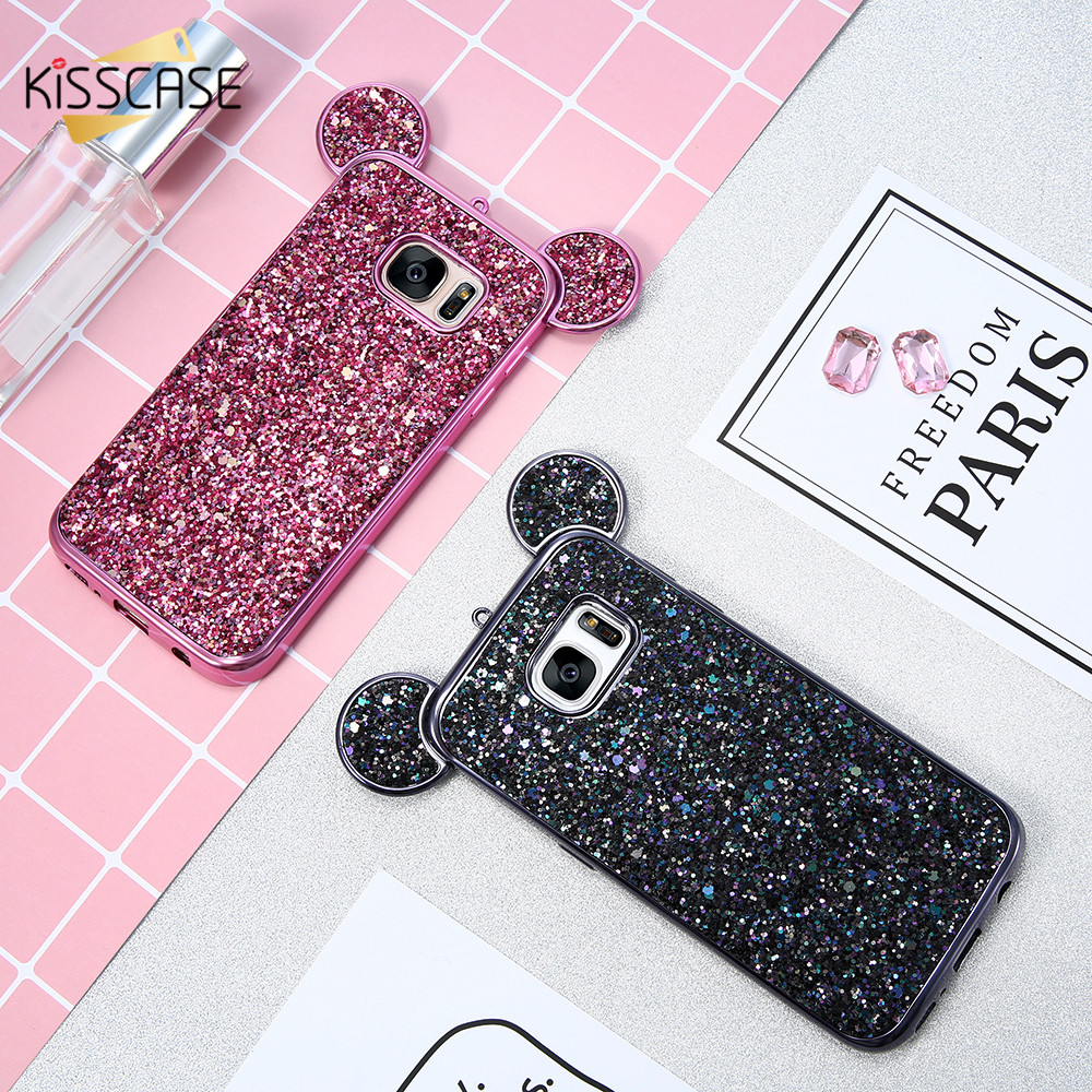 KISSCASE 3D Mickey Mouse Phone Cases For Samsung S8 S7 Edge S6 Coque Glitter Silicon Cover Case For iPhone 6 6s Plus 7 5 5s Capa(China (Mainland))