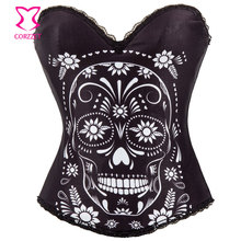 Black Cotton Floral and Skull Pattern Burlesque Corset Lingerie Bustier Sexy Push Up Corsets Gothic Clothing Korsett For Women(China (Mainland))