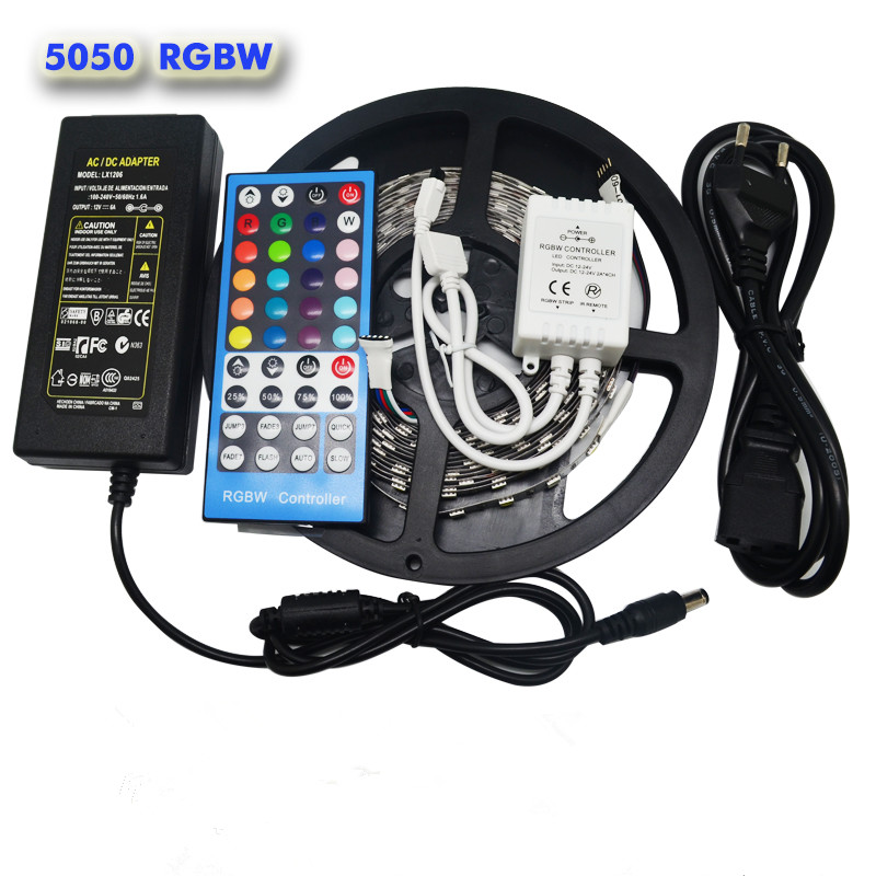 5M 300Leds Flexible RGBW 5050 SMD LED Strip Light Waterproof RGB+White Diode Tape +RGBW 40key IR Remote+ 12V 6A Power Adapter(China (Mainland))