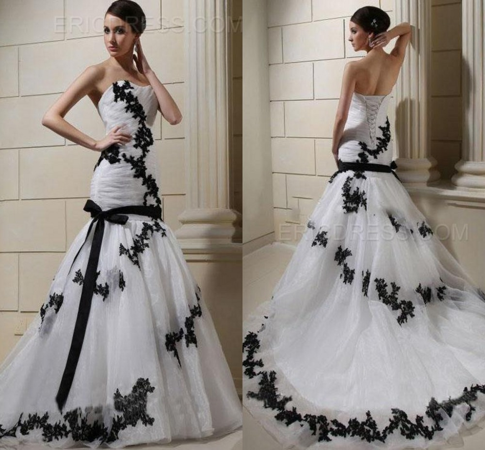 Cheap black and white sweetheart lace up china fashionable for Wedding dresses in china