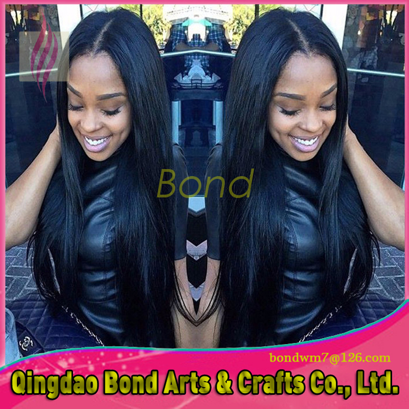 Silky Straight Virgin Brazilian Human Hair Full Lace Wigs For Black Women Long Natural Glueless Lace Front African American Wig<br>