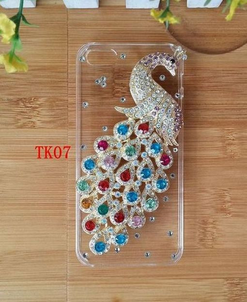 Hot Diamond Handmade Colorful Peacock Hard Plastic Transparent Case Cover For Samsung Epic 4G Touch D710(China (Mainland))