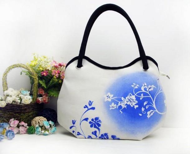 new women trend porcelain canvas flowers printing shoulder tote bag hobos diaper bag handbag LF06699b