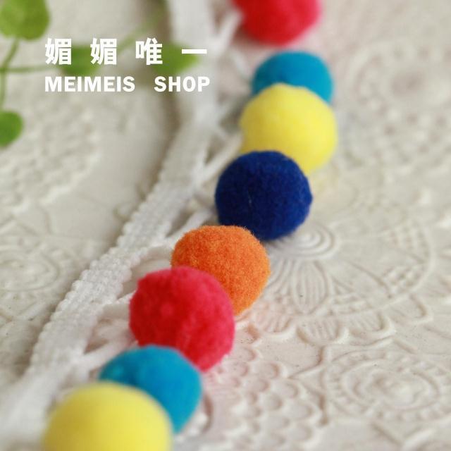 "34mm Beaded Tassel Fringe / Fringing Colored Pom Pom Ball Trim 1.3"" DROP Bead x 2M(China (Mainland))"