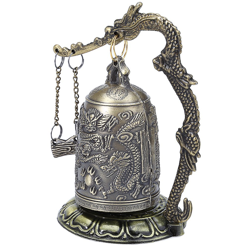 Hot Antique Home Decoration Zinc Alloy Vintage Style Bronze Lock Dragon Carved Buddhist Bell Chinese Geomantic Artware Exquisite(China (Mainland))