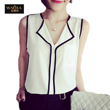 2015 Summer Style New Arrival Chiffon Blouses European And American Sweet Tops Sexy V-neck Fashion Women Shirts High Quality Top(China (Mainland))