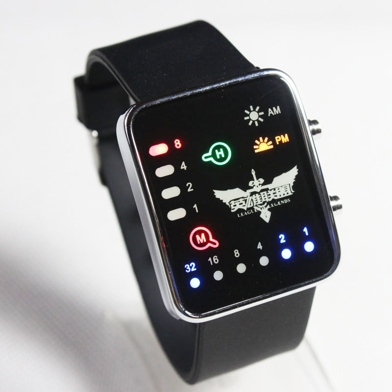 Luxury Mens Womens Watch LED Binary Watches Hot Game League of Legends Design Hot Sales Electronic Watch Freeshipping Wristwatch(China (Mainland))