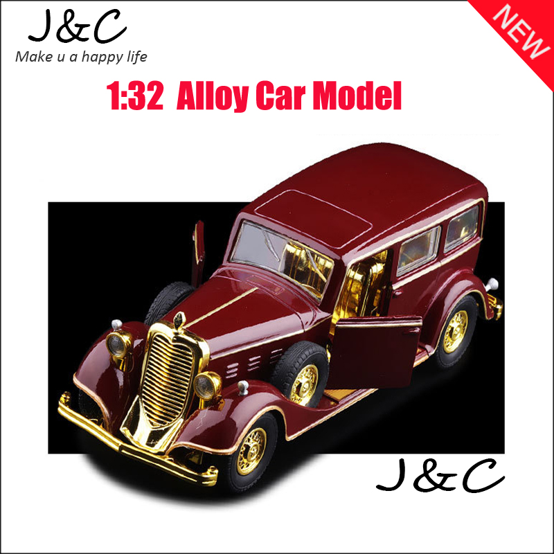 1:32 Cadillac Old Car Metal Alloy Diecast Toy Car Model Miniature Scale Model Sound and Light Emulation Electric Car(China (Mainland))