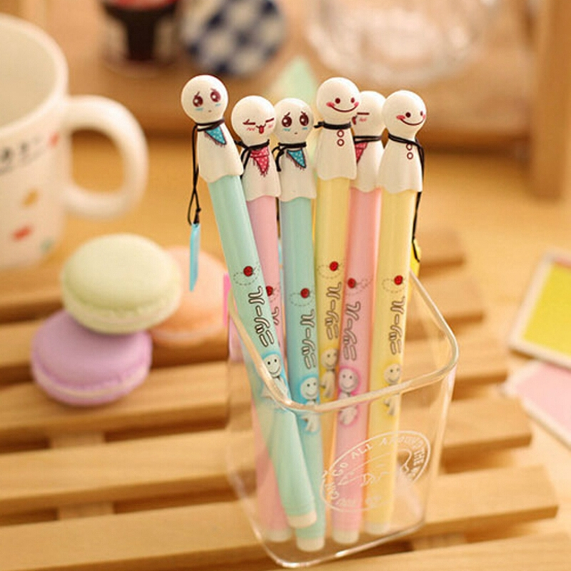 6 Pcs Wholesale Free Shipping New Fashion Japanese Sunny Doll Gel Pen For Kids Children Students School Office Supplies(China (Mainland))