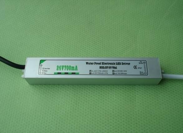 waterproof constant current led driver; AC90-250V input;700ma/16.8W output;CE and ROHS approved;P/N:YL-24700L