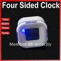 Новый mini C18 белеют led четыре двухсторонние температуры календарь таймер будильник