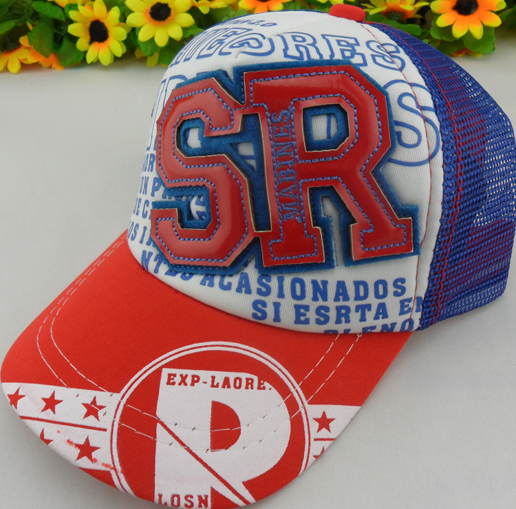 Spring and summer child hat letters printed SR baseball cap visor Benn mesh cap wholesale children(China (Mainland))