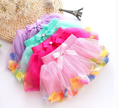 3-8Y kids tutu skirts girls Baby Mesh Flower Pettiskirts Tutu Princess Party Skirts Ballet Dance Wear Kids Petticoat Clothes