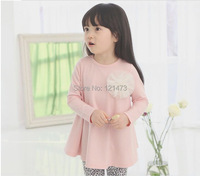 2015 Girls Dress Long Sleeve Pure Color Cotton Fashion Flowers Dresses Dlower Tutu Dress Baby Clothes Free Shipping