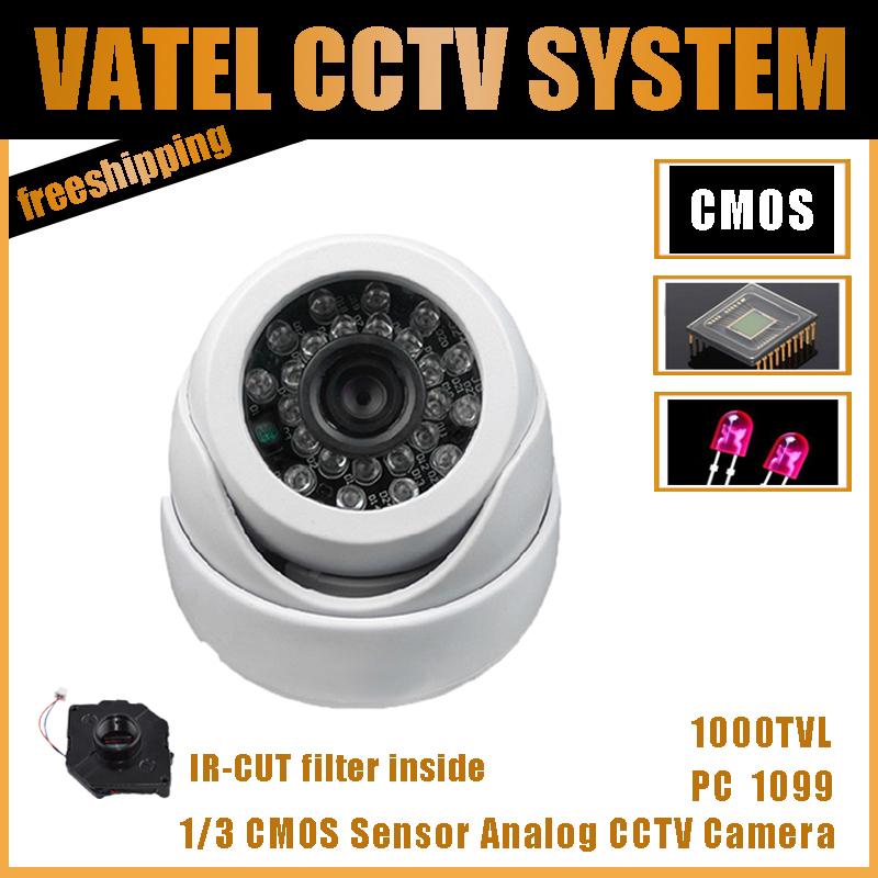 Plastic Dome Camera 1/3 CMOS Sensor 1000TVL 24PCS IR leds Security Cameras with IR-CUT Free Shipping(China (Mainland))
