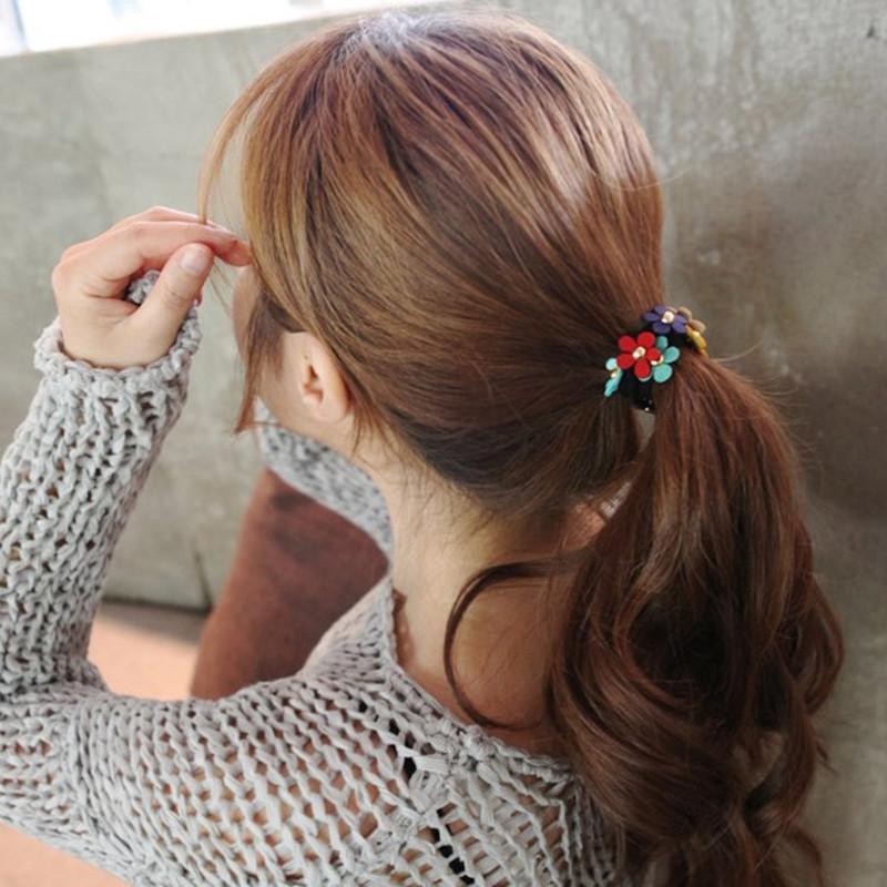 2016 Women Girl Rivet Punk Hairband Headband Flower Elastic Ponytail Holders Hair Ring Scrunchies For Girl Rubber Band Tie(China (Mainland))
