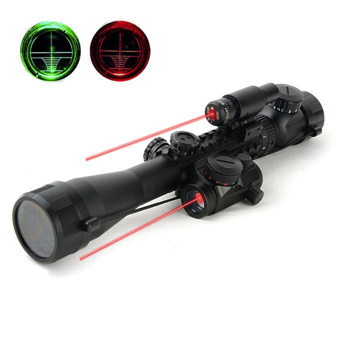 1set 3-9x40EG Red Green Lens Riflescope Red Laser Sight Side Red Rifle Scope Hunting Optics(China (Mainland))