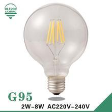 Led Edison Bulb G95 Big light bulb 2W 4W 6W 8W led bulb E27 clear glass indoor lighting lamp AC220V 230V Led Filament Bulb(China (Mainland))